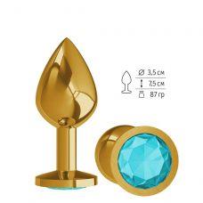 Золотистая средняя пробка с голубым кристаллом - 8,5 см.