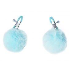 Зажимы на соски Angelic с голубыми меховыми шариками